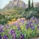 Iris et cyprès