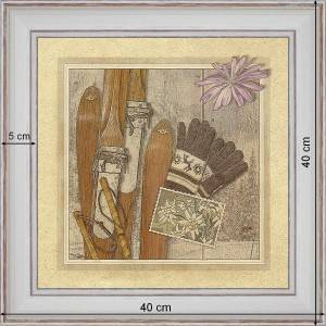 Skis and gloves - dimensions 40 x 40 cm - White