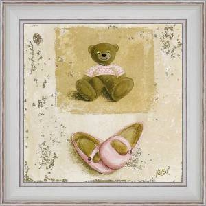 Pink Nounours and shoes - painting detail 40 x 40 cm
