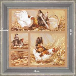 Hens and watering-can - dimensions 40 x 40 cm - Green