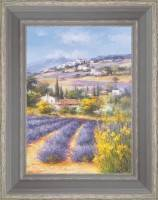 Fields of lavender under the village