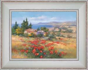 Poppies and small cottages by the sea