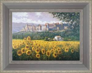 Fields of sunflowers under Carcassonne