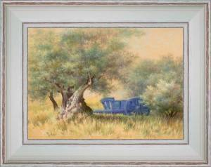The blue cart under olive trees