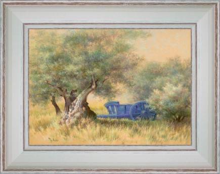 https://tableaux-provence.com/253-2328/the-blue-cart-under-olive-trees.jpg