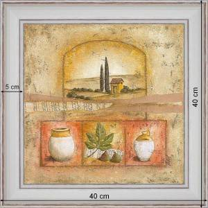 Ochre little cottage - dimension 40 x 40 cm - White