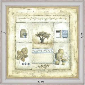 Olive-tree patchwork - dimensions 80 x 80 cm - White