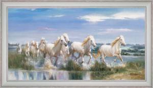Horses at a gallop in the delta
