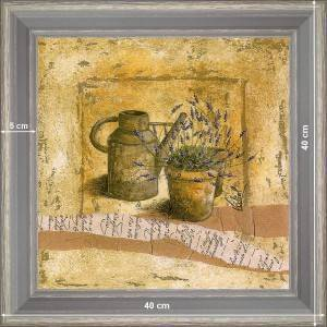Watering-can and pot of lavender - dimension 40 x 40 cm - Green