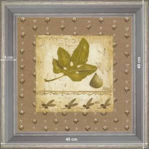 Fig tree leaf on flax - dimension 40 x 40 cm - Green