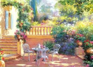 Pause café dans le jardin